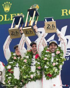 Marc Lieb, Romain Dumas et Neel Jani, vainqueurs des 24h du Mans 2016