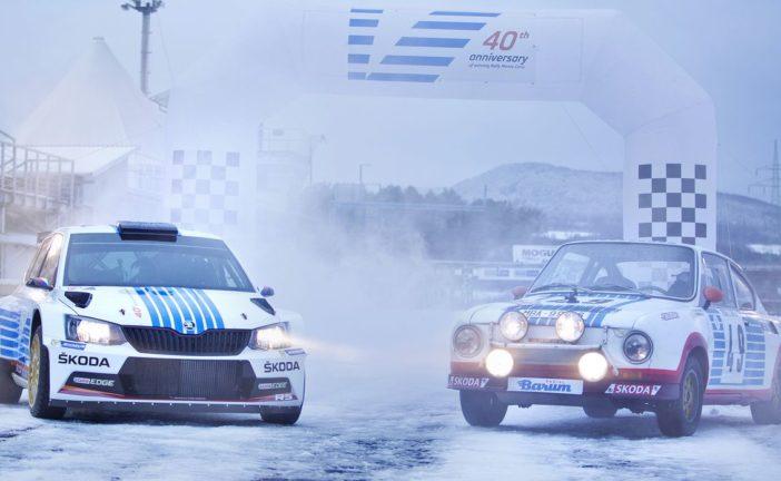 ŠKODA erinnert bei der Rallye Monte Carlo an legendären Triumph vor 40 Jahren