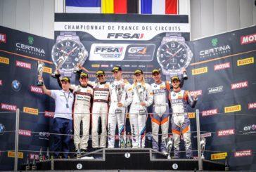 La nouvelle BMW M4 s'impose pour ses débuts en Championnat de France FFSA GT, Niki Leutwiler sur le podium