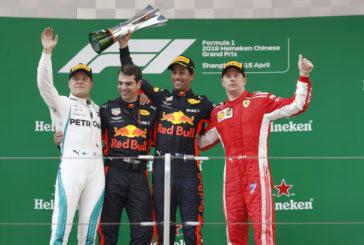 F1 – GP de Chine: La folle et magistrale remontée de Daniel Ricciardo. Les Sauber et Romain Grosjean hors du coup.