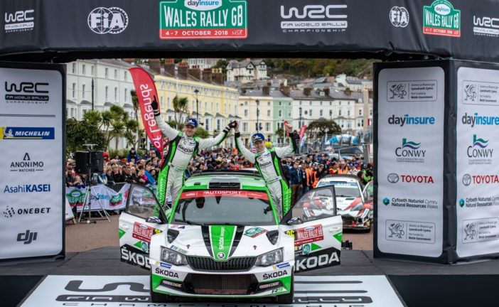 Škoda junior Kalle Rovanperä wins WRC 2 ahead of teammate Pontus Tidemand