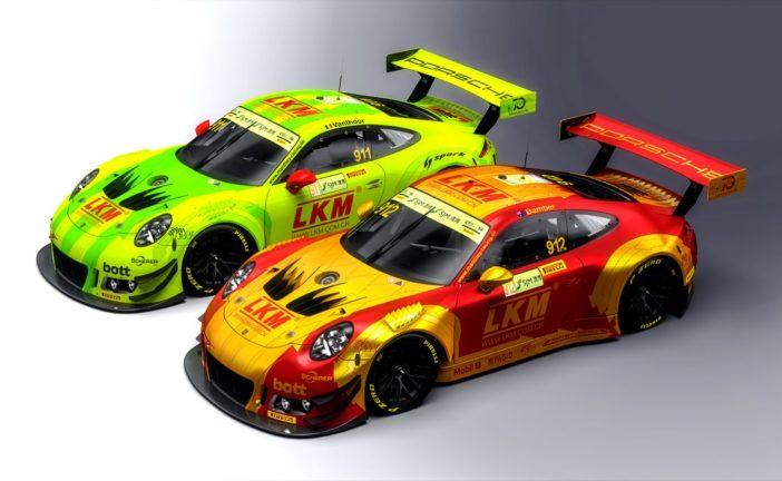 Four Porsche 911 GT3 R at the world's toughest street race